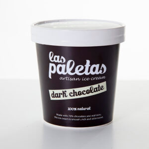 70% Dark Couverture Belgian Chocolate Ice Cream Tub by Las Paletas