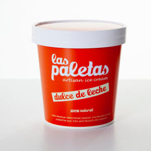 Sweet and Creamy Dulce de Leche Caramel Ice Cream in a tub by Las Paletas
