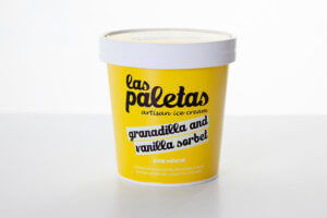 Tangy Natural Granadilla Sorbet with a hint of Madagascar Vanilla Paste in a Tub by Las Paletas