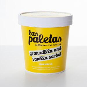 Tangy Natural Granadilla Sorbet with a hint of Madagascar Vanilla Paste in a Tub by Las Paletas