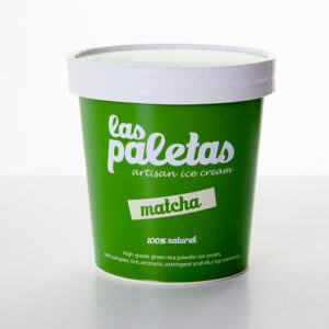 High grade Green Tea Matcha Ice cream in a tub by Las Paletas