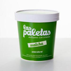 High grade Green Tea Matcha Ice cream in a tub by Las Paletas