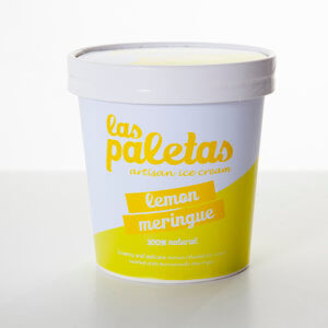 Natural Tangy Lemon Meringue Ice Cream in a tub by Las Paletas